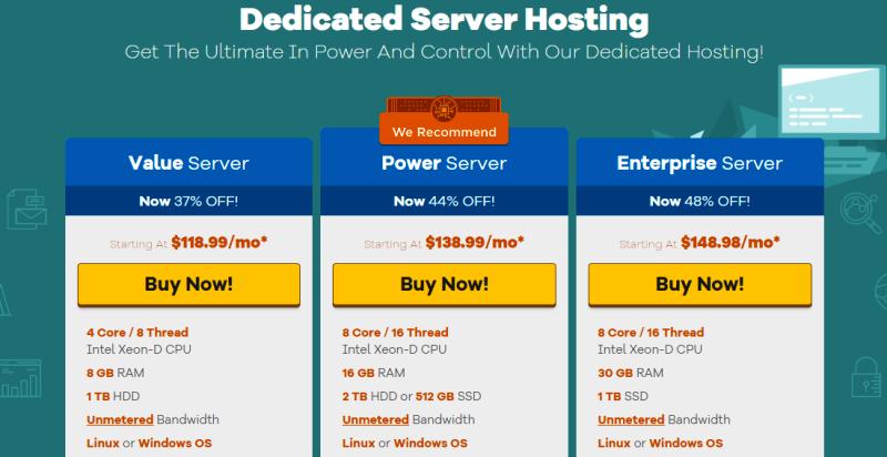 HostGator dedicated server hosting packages