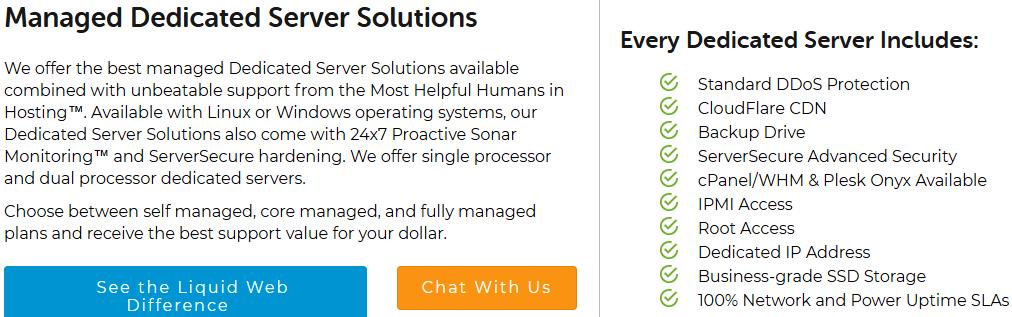 Liquid web hosting managed dedicated server plan features