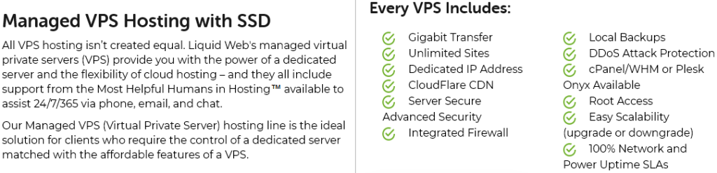 Liquid web managed VPS hosting with SSD storage features