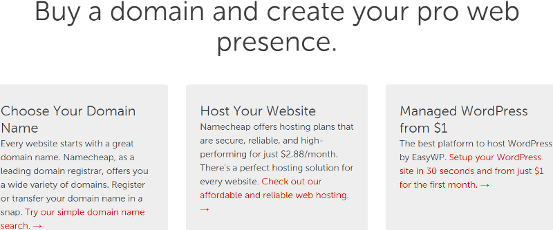 Buy a domain and create your website with Namecheap
