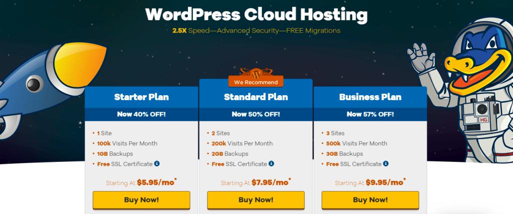 HostGator WordPress cloud hosting service